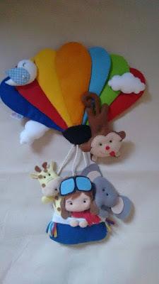 Molde de animais no balão em feltro!