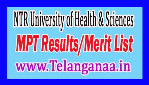 Dr. NTRUHS MPT Results/Merit List 2016 Download
