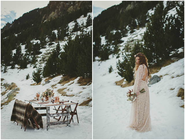 imma cle boho wedding wintern invierno boda pirineo nieve