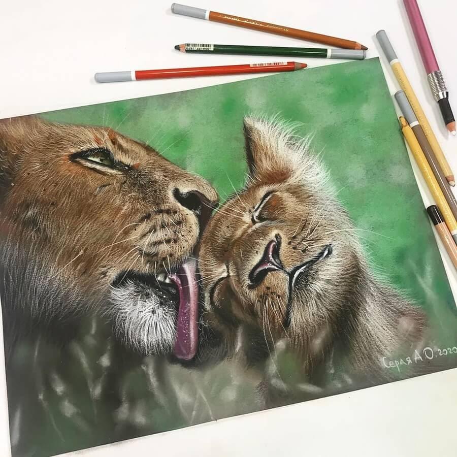 05-Leoness-and-Cub-Cute-Animals-Анастасия-Серая-www-designstack-co