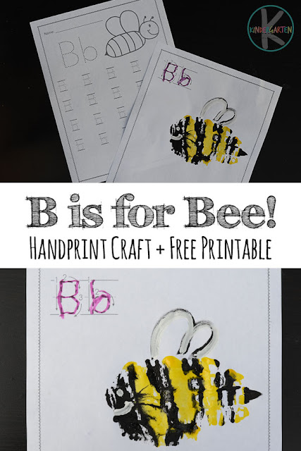 Super cute Letter B handprint art with FREE letter b kindergarten worksheets. Perfect for letter of the week, alphabet crafts, home preschool and more for preschool, prek, kindergarten, first grade