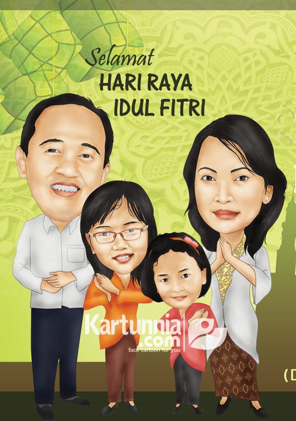 Karikatur Keluarga Ucapan Selamat Lebaran Kartunnia