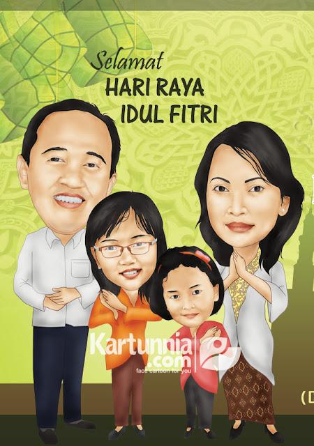 karikatur keluarga ucapan selamat lebaran