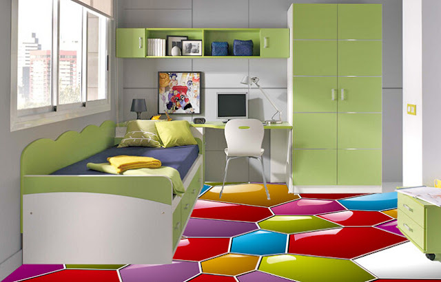 colorful 3D flooring ideas for small bedrooms