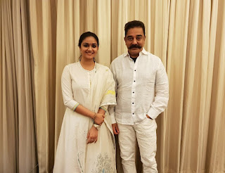 Keerthy Suresh in White Dress with Cute and Awesome Lovely Smile with Kamal Hassan