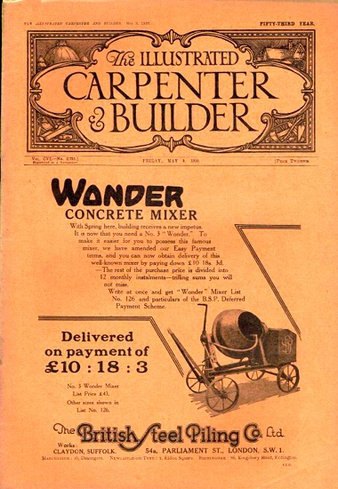 Scan of the front cover of the Illustrated Carpenter and Builder magazine August 1930