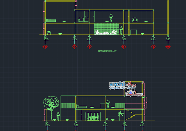 Residential duplex house in AutoCAD