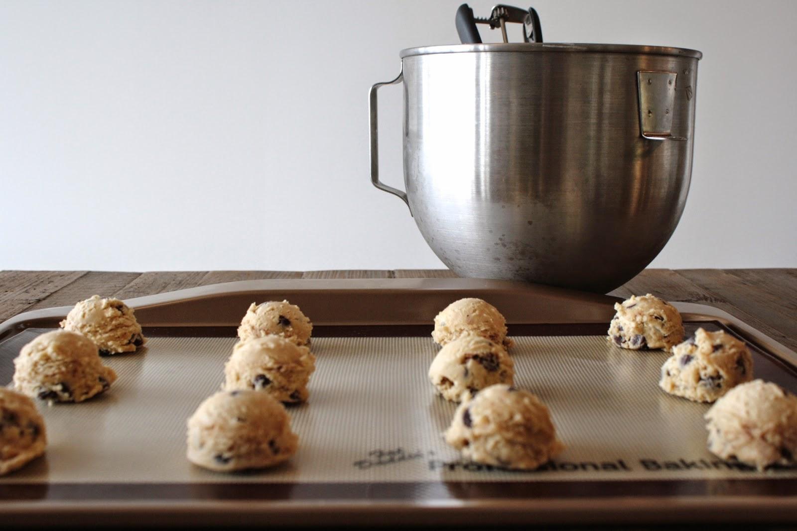 Cookie dough on a baking sheet.