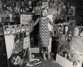 Pauline Boty and two paintings, by Lewis Morley