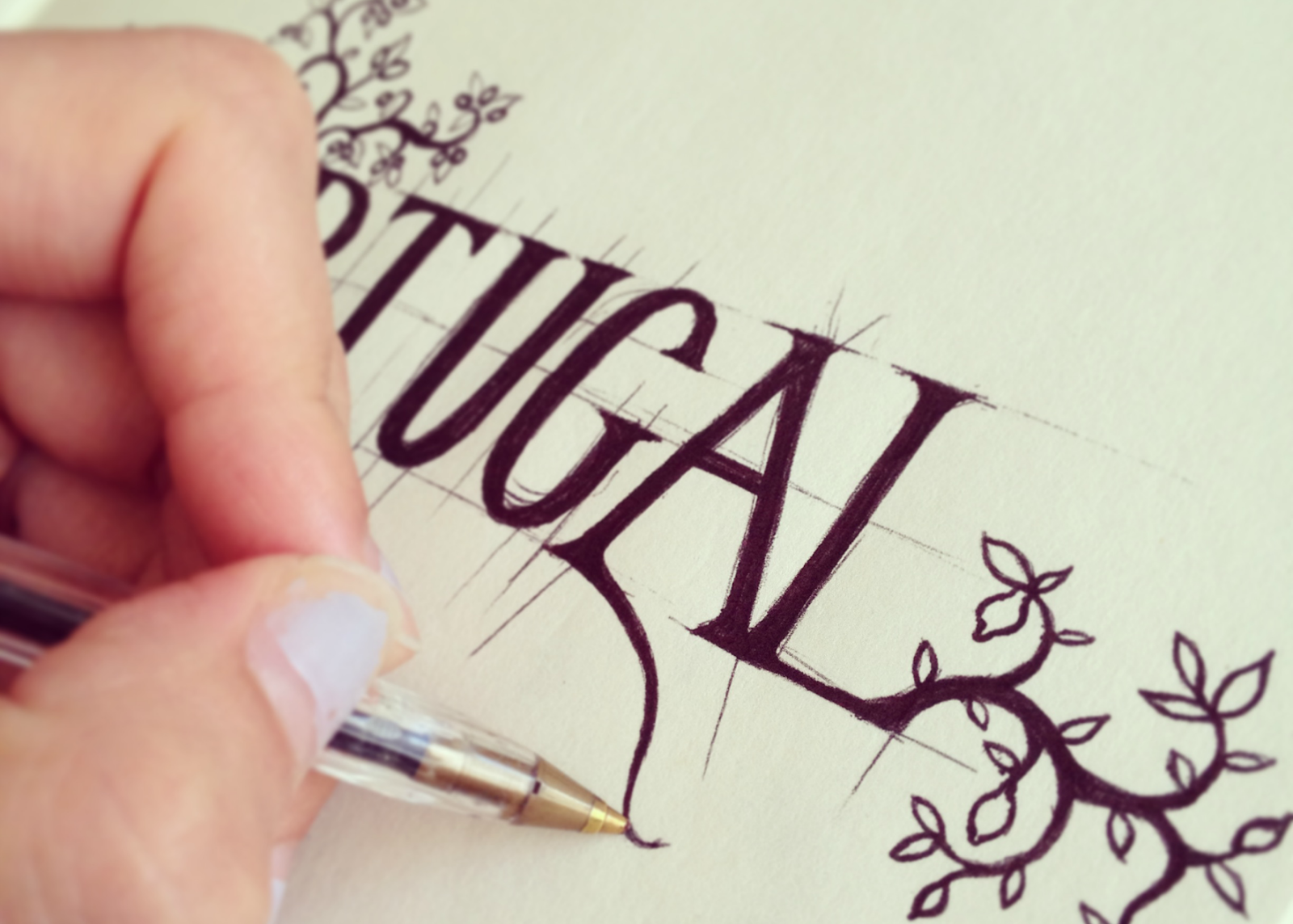 Lettering trees leaves biro sketch