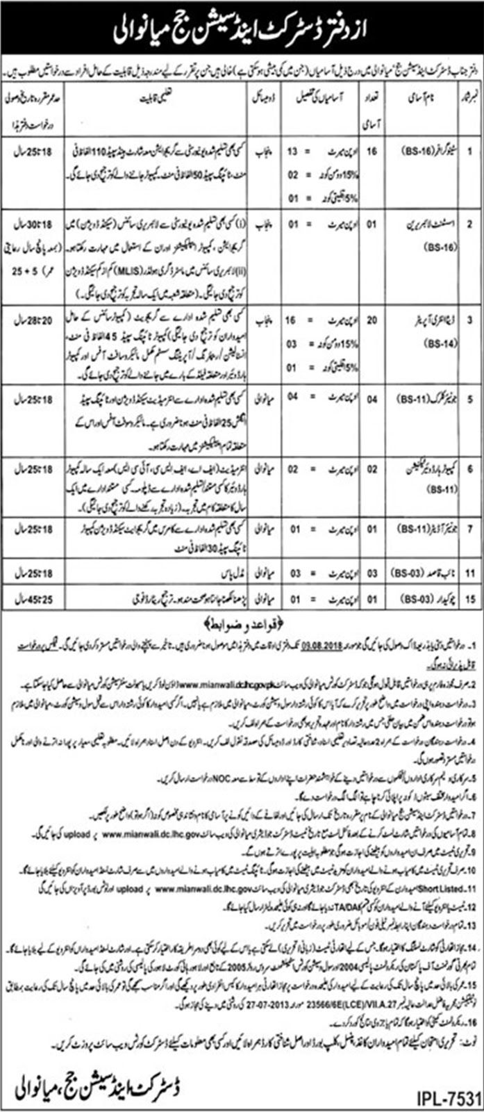 District And Session Judge Mianwali Jobs July 2018