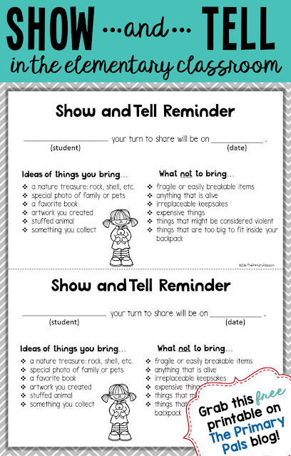 Share this free show and tell reminder with parents and students when it is their turn to present to the class.