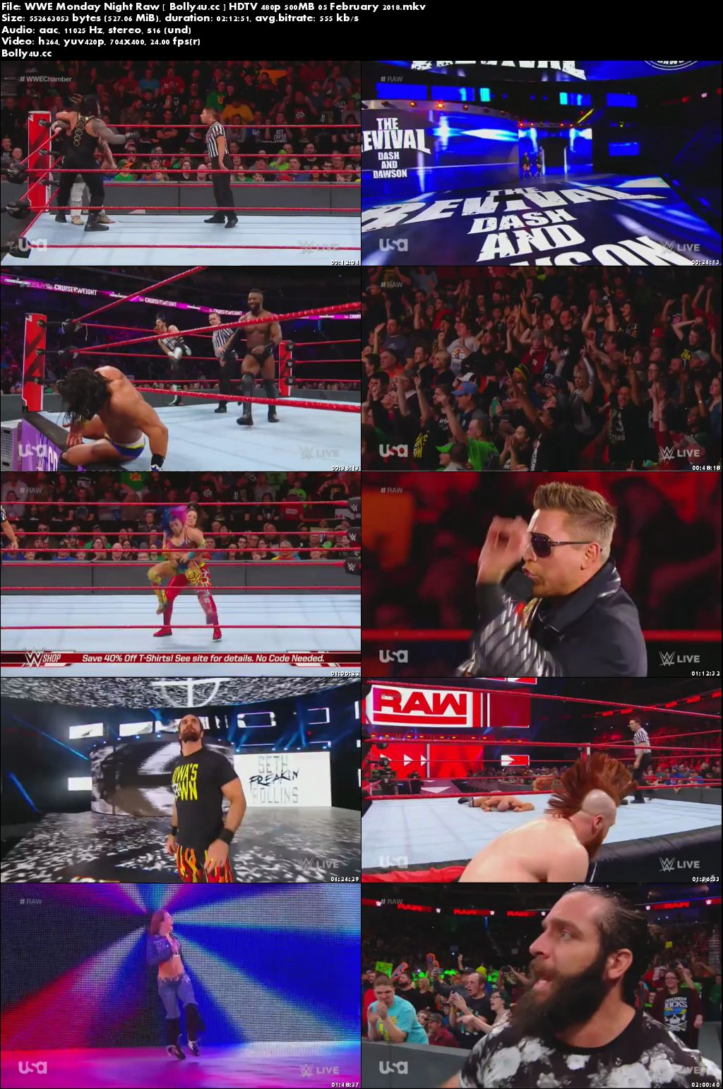 WWE Monday Night Raw HDTV 480p 500MB 05 February 2018 Download