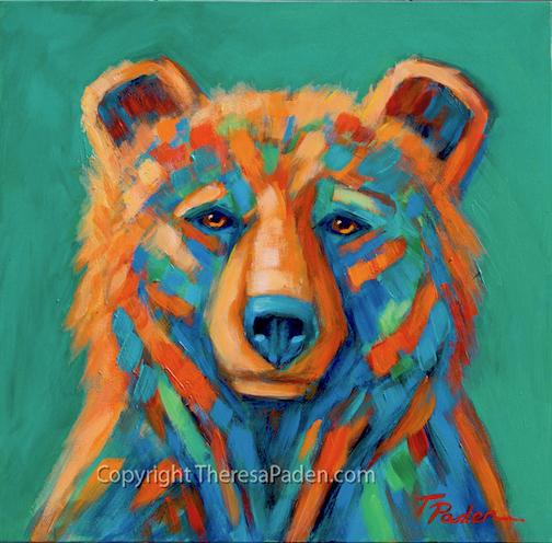 paintings by theresa paden colorful fun bear art by theresa paden