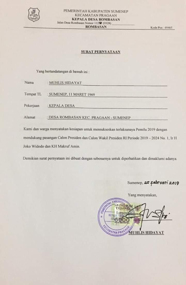Beredar Surat Pernyataan Kepala Desa Dukung 01