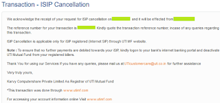 UTI Mutual Fund -  SIP Cancellation Success