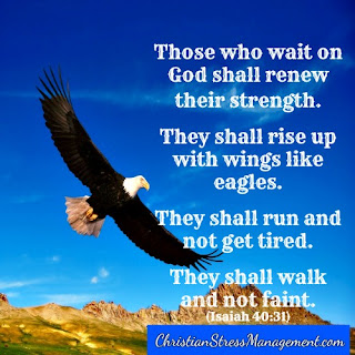 Those who wait on God shall renew their strength like eagles. They shall rise up with wings like eagles. They shall run and not get tired. They shall walk and not faint. Isaiah 40:31