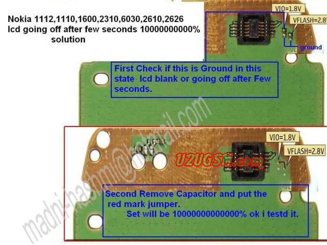 Cell Firmware: Nokia 1600 Display Problem Jumpers