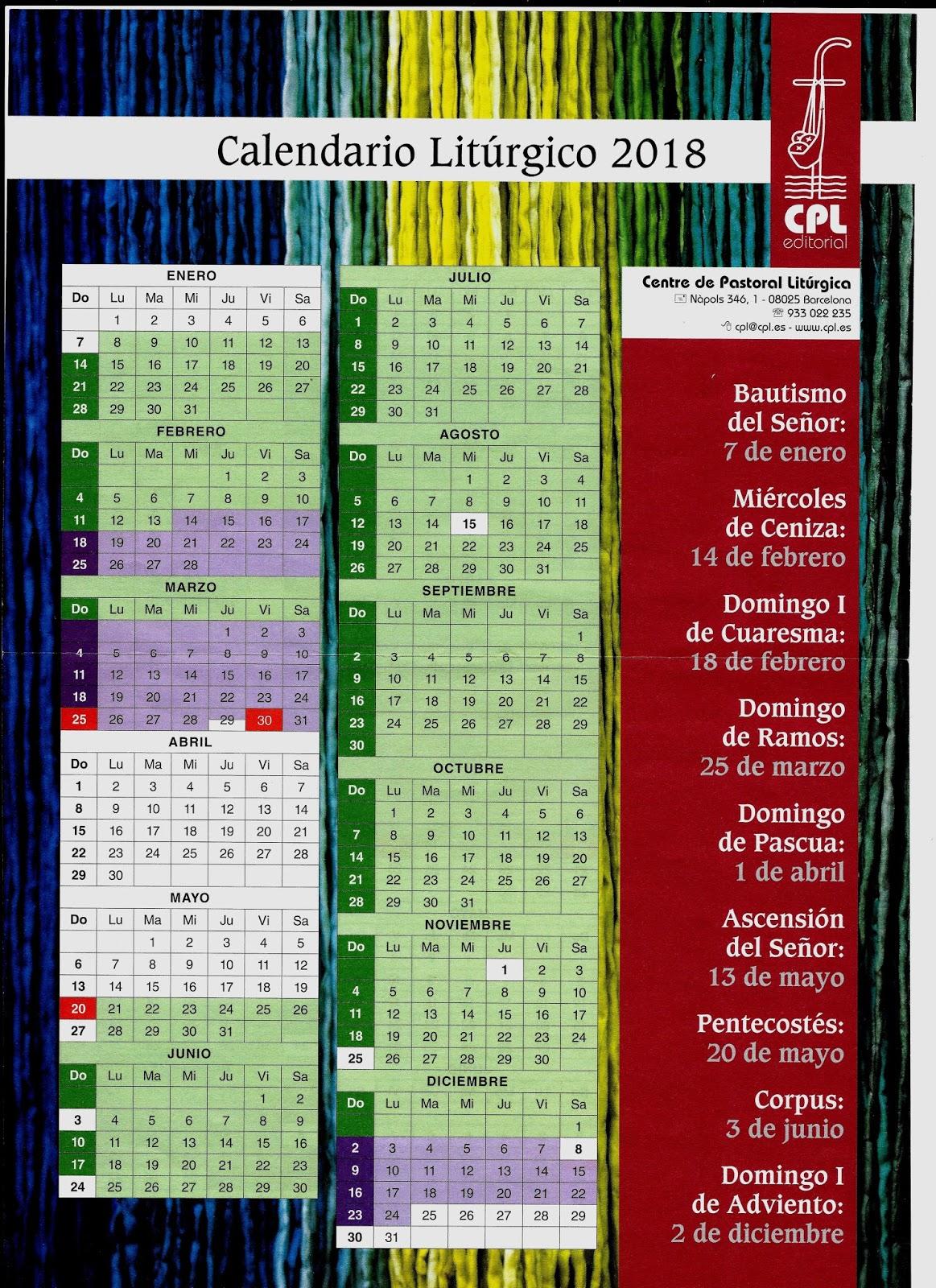 benedictinas de alzuza  calendario lit u00fargico 2018