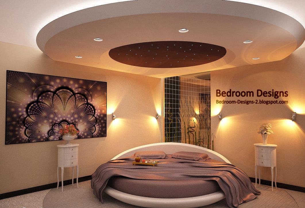 Modern bedroom design idea with round bed gypsum board ceiling and wall lighting decorations