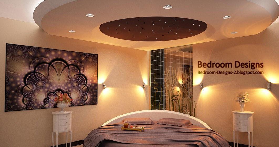 modern bedroom design idea with gypsum board ceiling