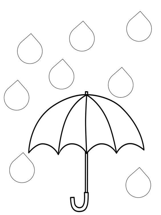 Tranh tô màu cái ô và những giọt nước