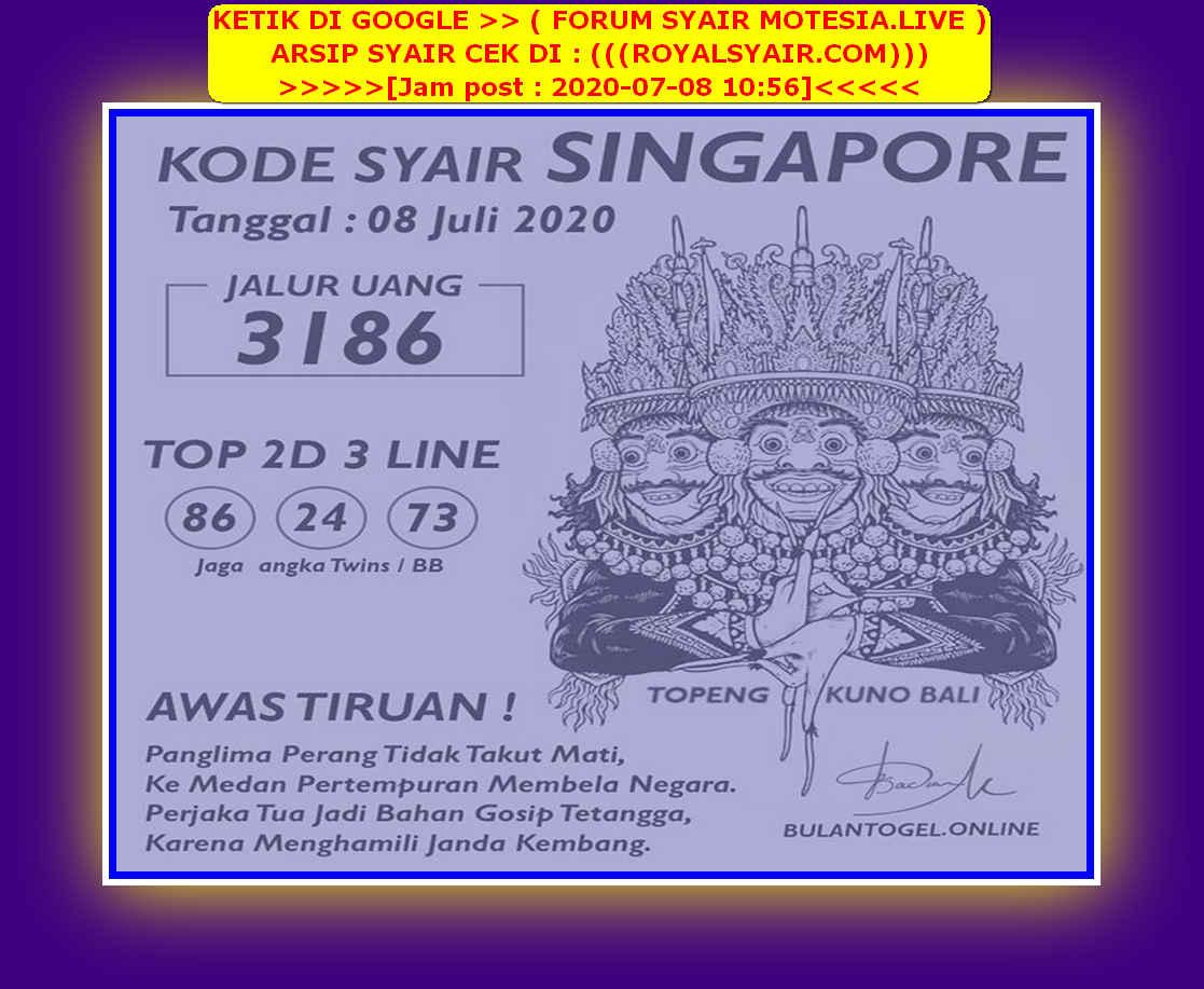 Kode syair Singapore Rabu 8 Juli 2020 182