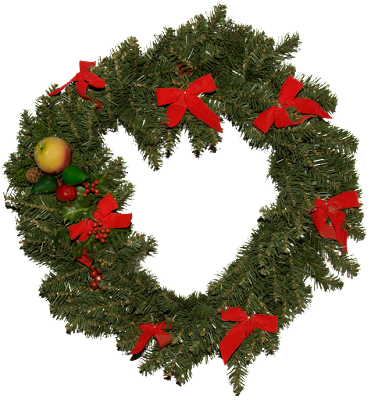 A traditional green Christmas wreath with red bows, berries and fruit.