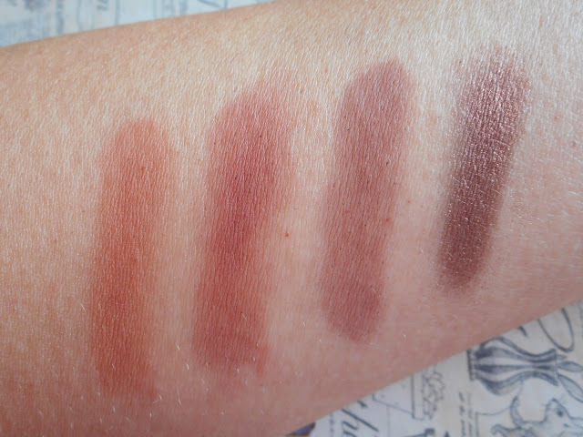 Urban Decay Naked Heat swatches - L-R Cayenne, En Fuego, Ashes, Ember