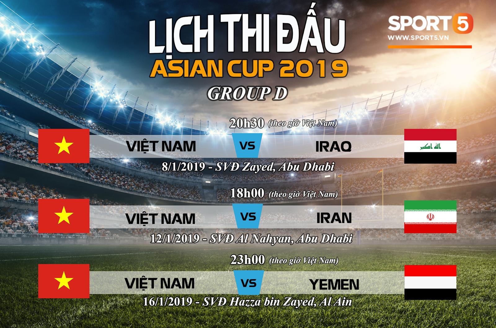 Niemstyle | Lịch thi đấu vòng chung kết Asian Cup 2019 của tuyển Việt Nam