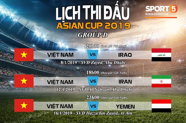 Lịch thi đấu vòng chung kết Asian Cup 2019 của tuyển Việt Nam