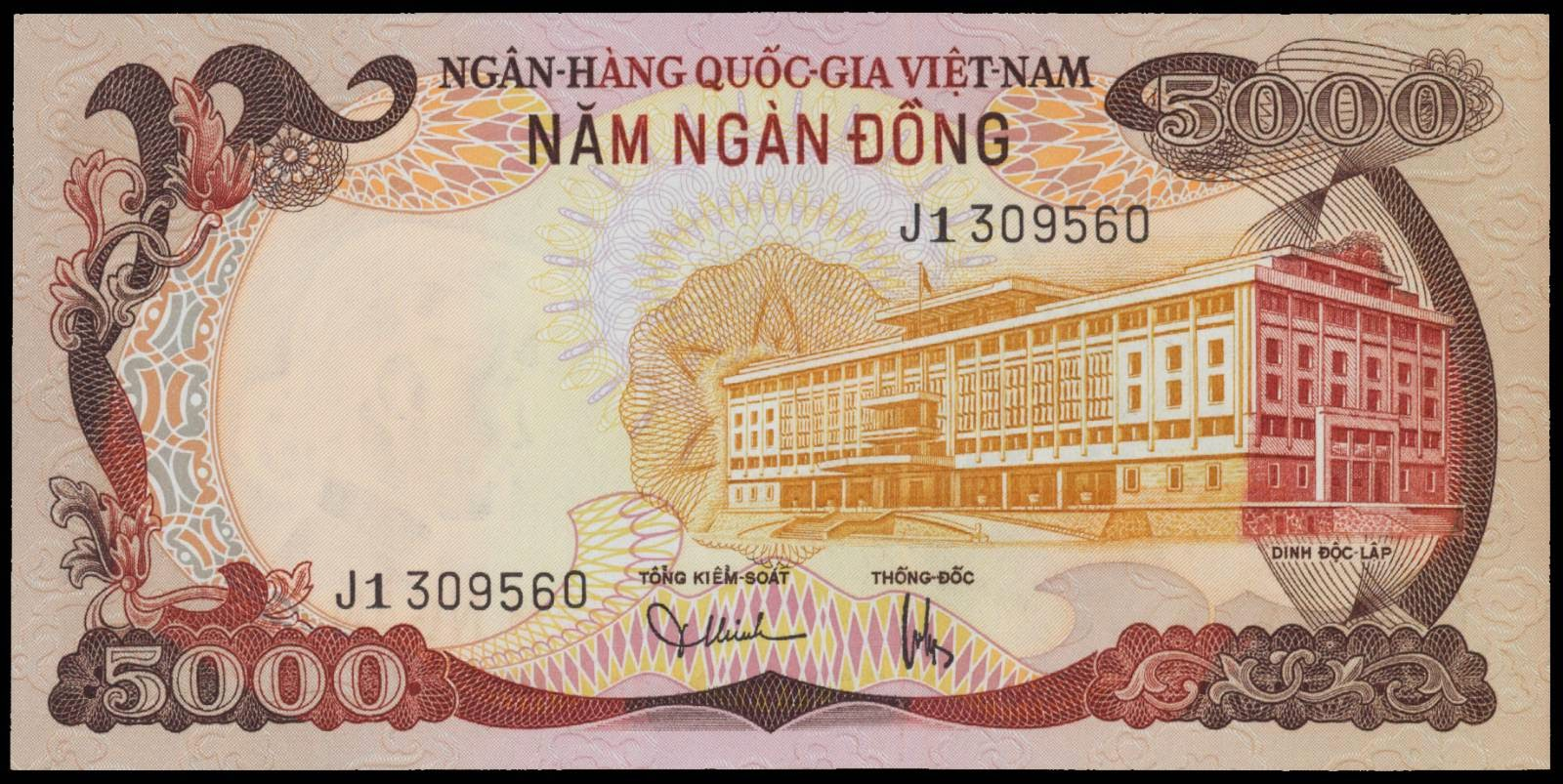 South Vietnam Banknotes 5000 Dong note 1975