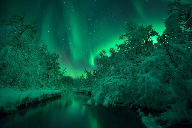 Aurora over Lomaas River