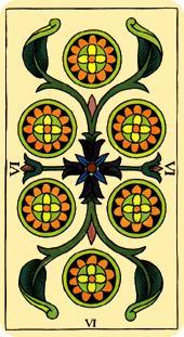 Tarot de Marsella: carta Seis de Oros
