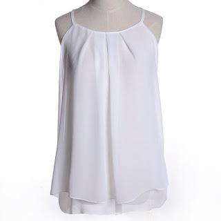 Blusa manga cero con tirantes delgados y pliegues gruesos