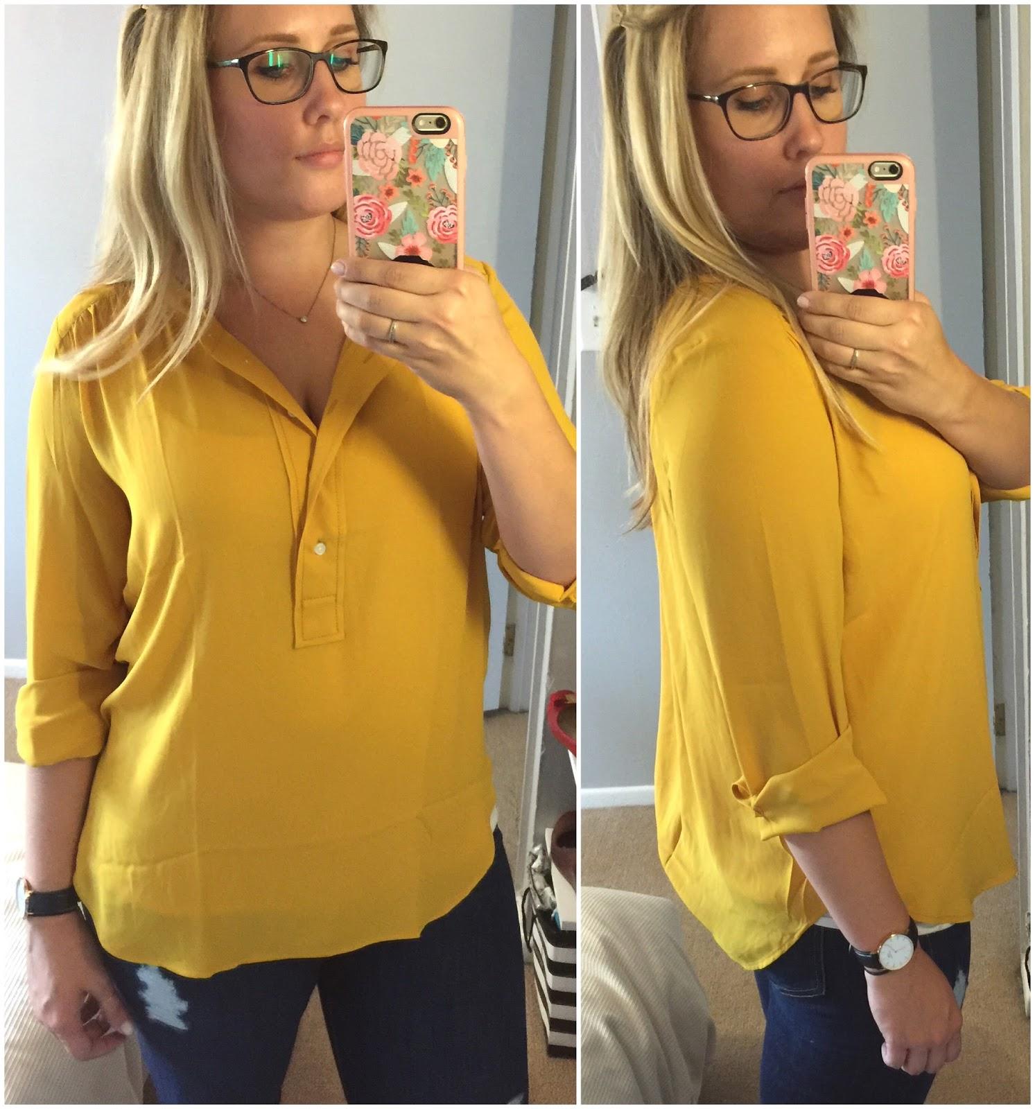 loft modern henley blouse