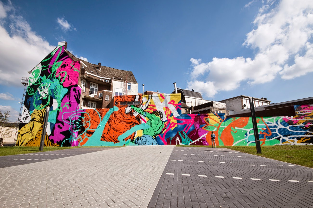 The good dougs from Cyrcle recently spent some time in Europe where they were invited to paint for the HRLN mural project on the streets of Heerlen in Netherlands.