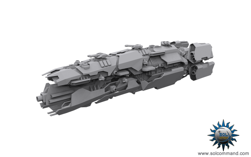 Kurat command and control spaceship combat ship warship warcraft scifi futuristic destroyer cruiser border patrol central gun weapon cannon recoil capital solcommand 3d model original custom original concept art