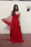 Actress Sana Khan Latest Pos in Georgius Spicy Red Long Dress at the Interview  0017.jpg
