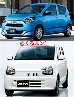 新型ミライース アルト 車体 写真比較
