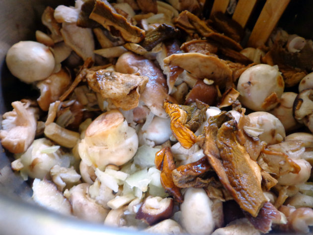 add all mushrooms to onion and garlic