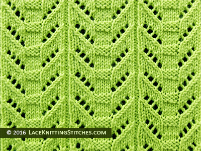 Lace knitting. Totem Pole Lace panel