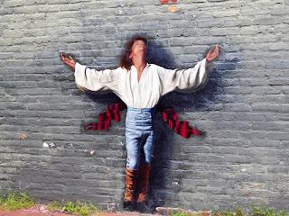 levitating man mural