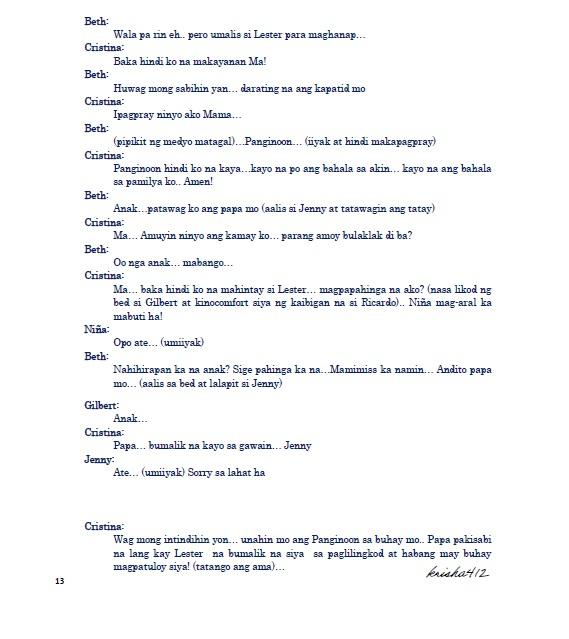 Tagalog drama script sample