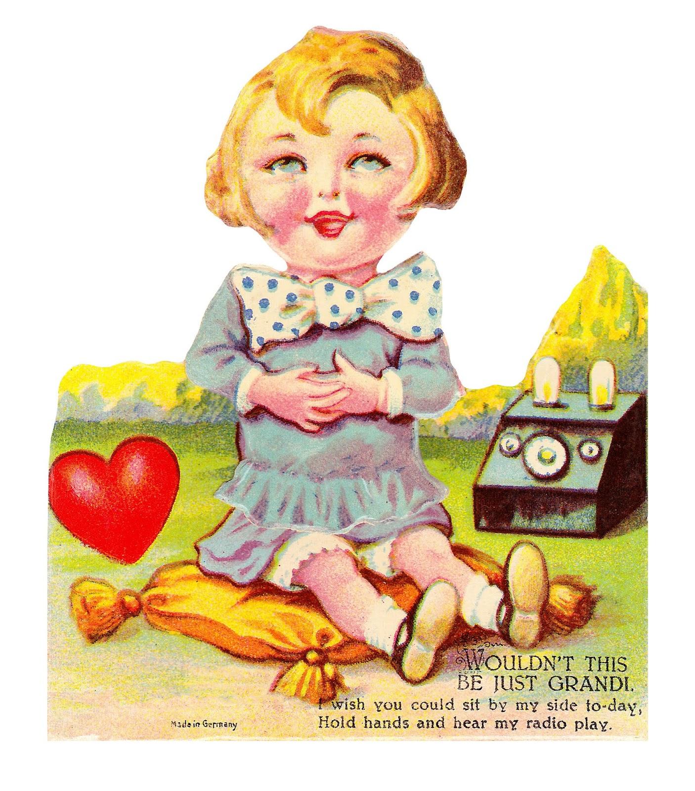 Chocolate Rabbit Graphics Vintage German Valentine Radio Girl