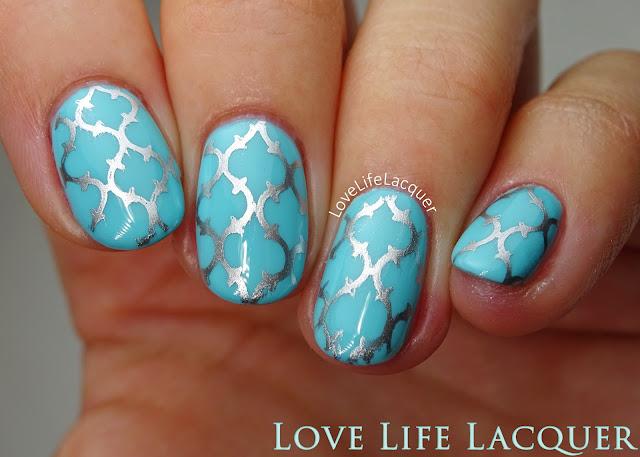 Silver stamping nail art