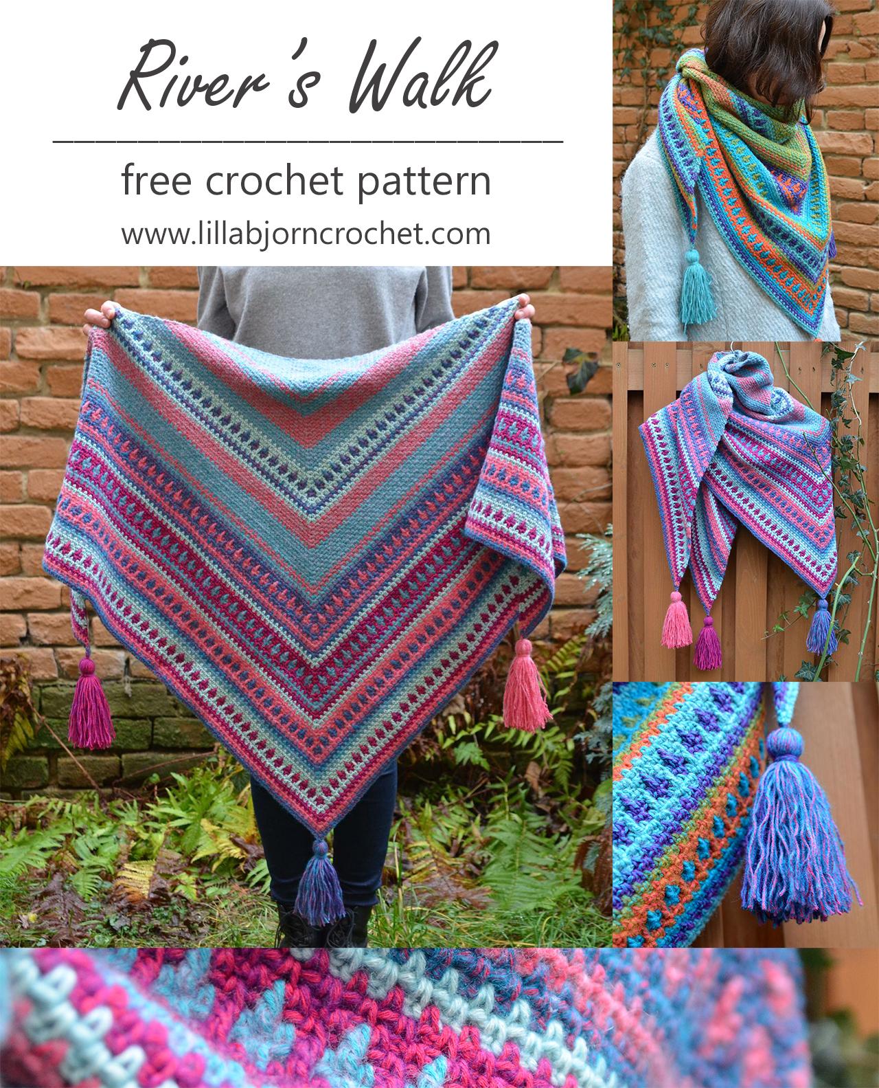 River\'s Walk Shawl – FREE crochet pattern | LillaBjörn\'s Crochet World