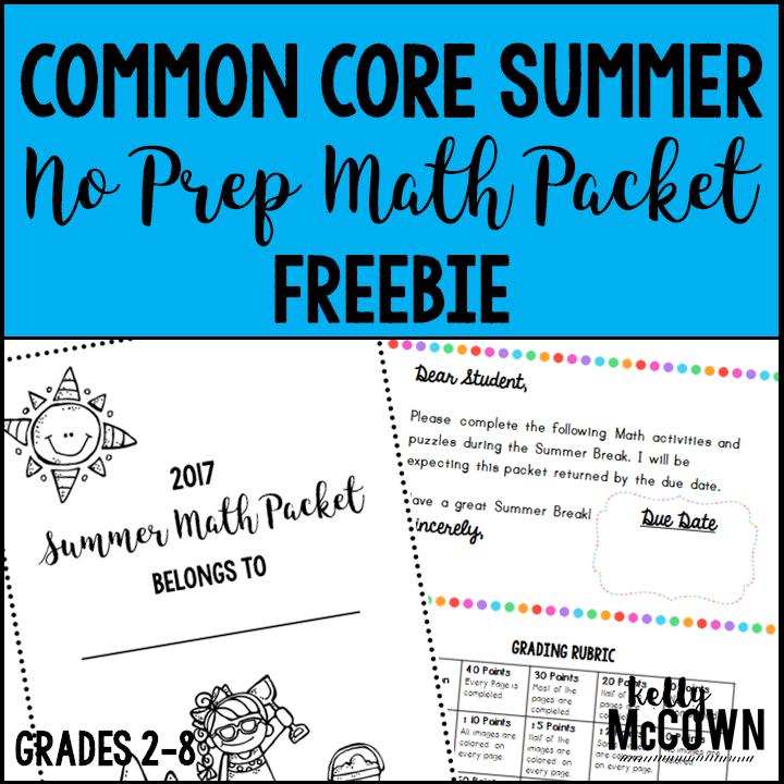 Kelly McCown Summer NO PREP Math Packet FREEBIE
