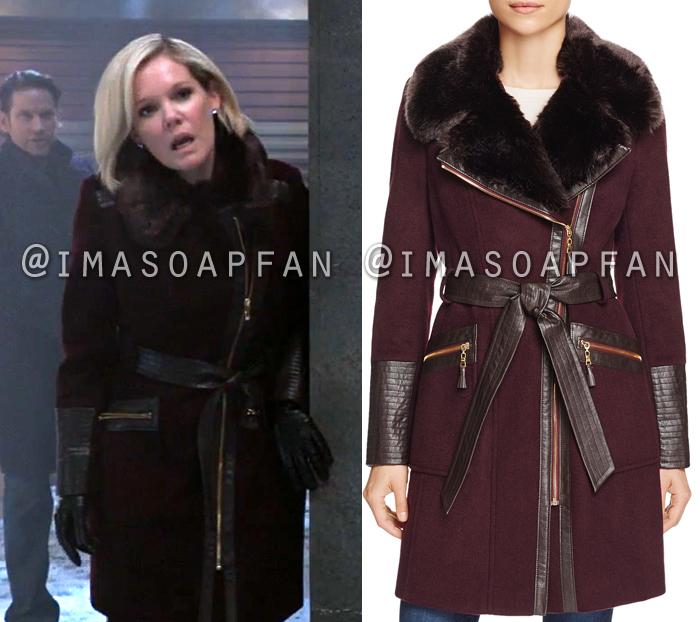 Ava Jerome, Maura West, Purple Belted Faux Fur-Trim Asymmetric Coat, General Hospital, GH