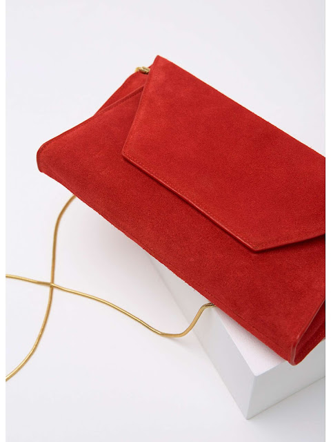 Mint Velvet Millie Red Suede chain Clutch